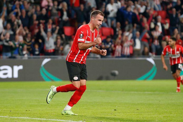 Mario Götze na de 1-0 tegen Real Sociedad in het Europa League-duel van donderdagavond.