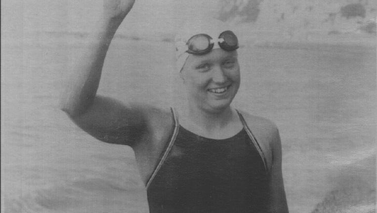 Irene van der Laan in Dover, voor de start van haar wereldrecordrace Dubbele Kanaaloversteek in 1983. Beeld AP