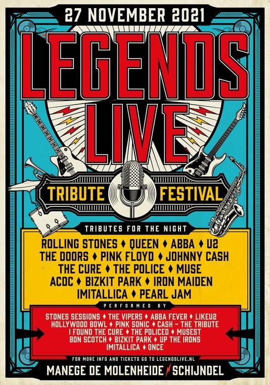 De poster van het tributefestival Legends Live XXL in Schijndel.