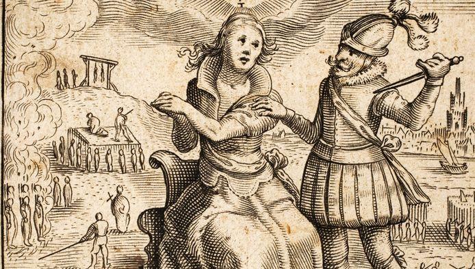 Spanjaard bedreigt de Nederlandse maagd in de Tachtigjarige Oorlog, prent uit Johannes Gysius: Oorspronck ende voortgang der Neder-landtscher beroerten ende ellendicheden, 1616