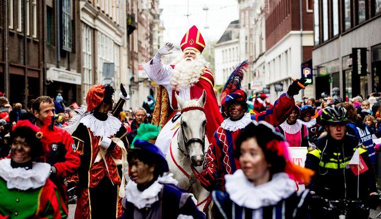 Sinterklaas tijdens de intocht in Amsterdam. Beeld anp