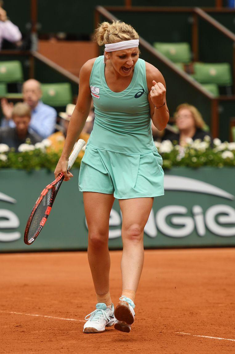 Bacsinszky haalde vorig jaar de halve finales in Parijs, nadat ze in de kwartfinales Alison Van Uytvanck had uitgeschakeld Beeld Getty Images