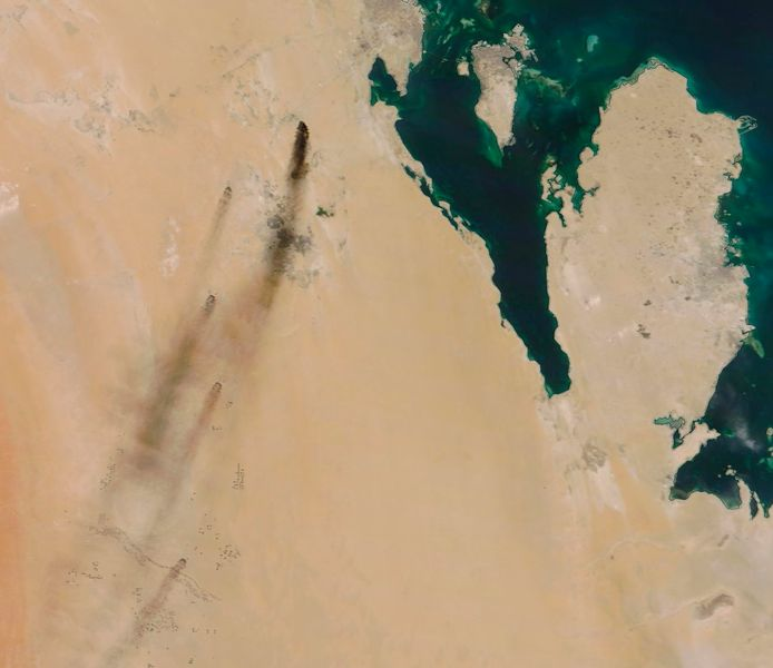 De rookpluimen na de aanval waren zelfs vanuit de ruimte te zien.