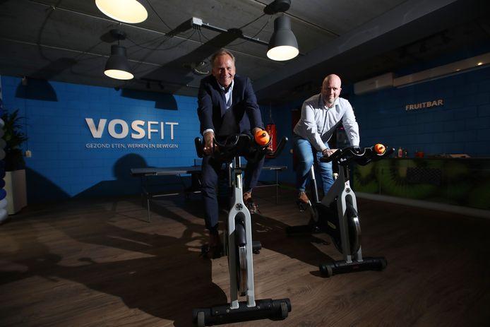 Voskamp Groep heeft een Vitaliteitsruimte in gebruik genomen. Foto van baas (links) Frank Heidanus en Robin Blaas (rechts).