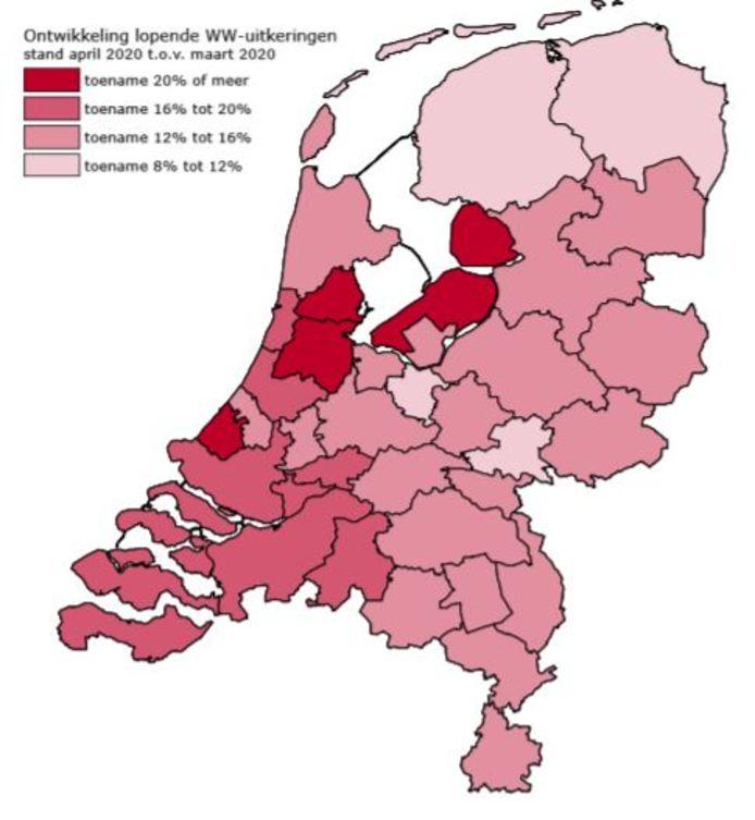 Hoe dieper in het rood, hoe zwaarder de coronacrisis toeslaat als het gaat om WW-uitkeringen.
