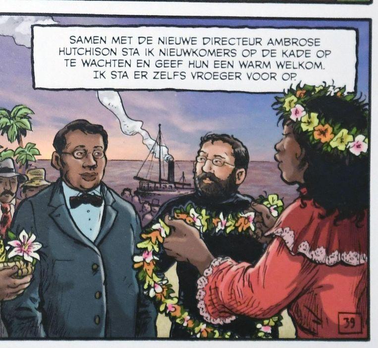 In het stripverhaal vertelt Pater Damiaan zelf over zijn leven, van begin tot eind.