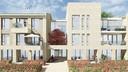 Impressie van het nieuwe appartementencomplex op het Meester Gielenplein achter de Berchplaets in Berghem.