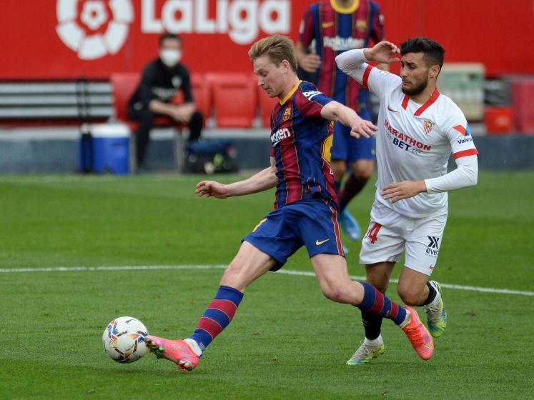 Sterk Barcelona wint bij Sevilla en klimt naar plaats 2