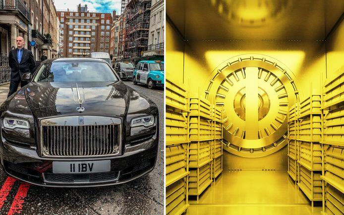 Klanten worden opgehaald met een Rolls Royce vooraleer ze afdalen naar het kluizencomplex.