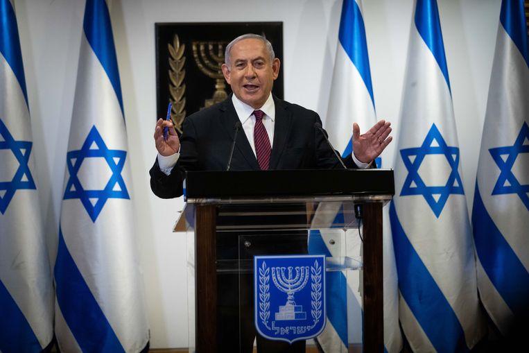 Benjamin Netanyahu kondigt aan dat er nieuwe verkiezingen komen. Beeld EPA