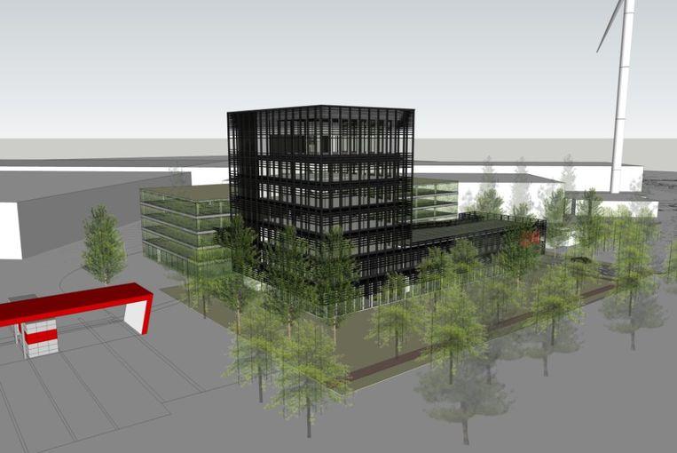Een simulatie van hoe de nieuwe gebouwen van H. Essers er zullen uitzien.