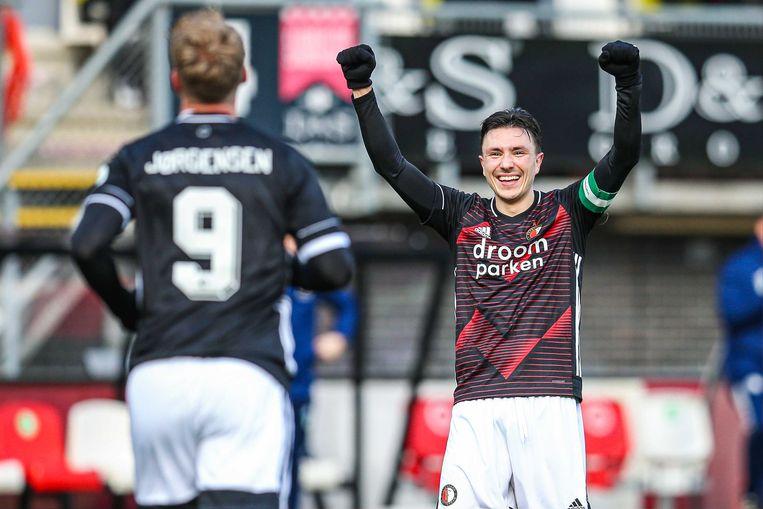 (l-r) Nicolai Jorgensen en Steven Berghuis vieren de 0-2. Beeld ANP