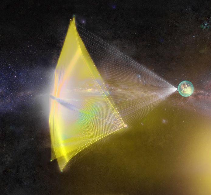 Een artist's impression van een StarChip, aangedreven door laserbundels vanaf de aarde.