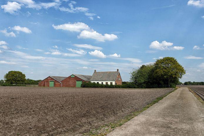 Boerderij aan de Moerstraatsebaan die in het plangebied van de Bergsche Heide ligt. Het bedrijf staat in de verkoop.