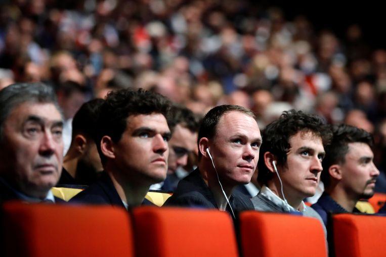 Eddy Merckx, Greg Van Avermaet, Chris Froome en Geraint Thomas. Beeld REUTERS
