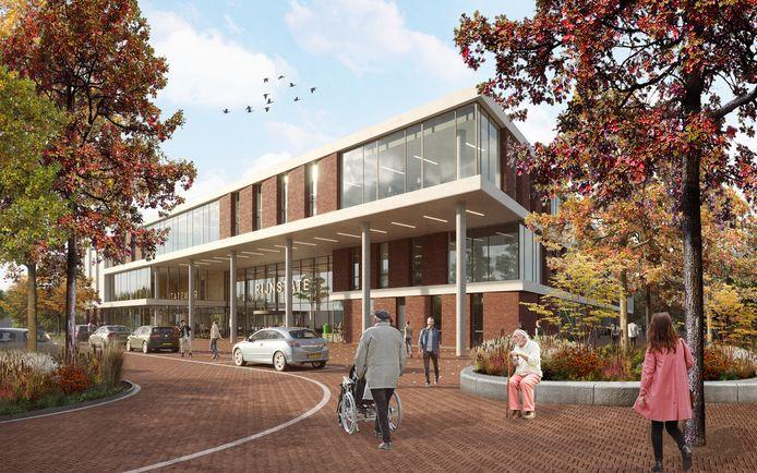 Impressie van det nieuw te bouwen poli annex dagziekenhuis van ziekenhuis Rijnstate in Elst.