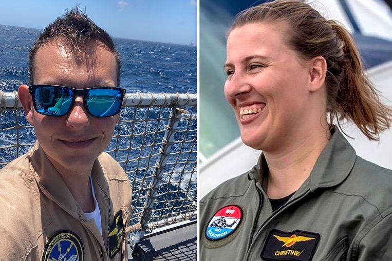 Erwin Warnies (33) en Christine Martens (34) kwamen om bij het ongeluk met NH90 vlak voor de kust van Aruba. Beeld Ministerie van Defensie