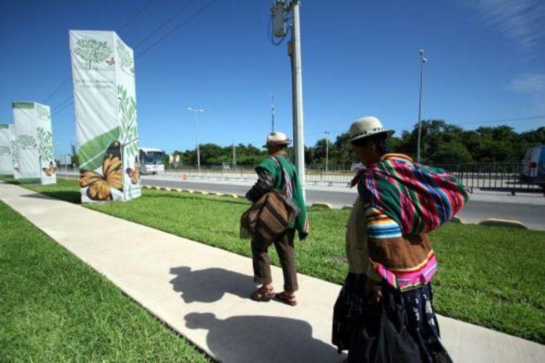 Vlaggen met het logo van de klimaattop in Cancún. EPA Beeld