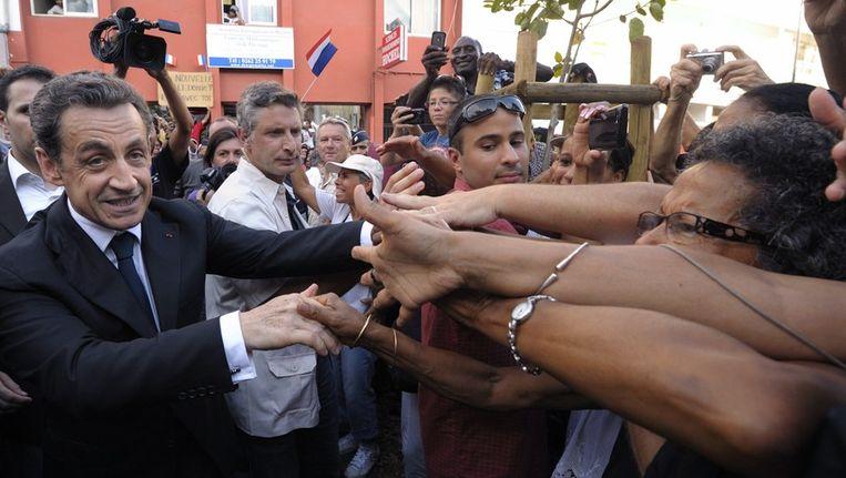 Sarkozy in Saint-Pierre op eiland Reunion in de indische Oceaan. Beeld afp