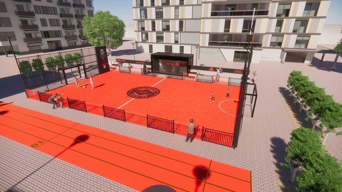 Een simulatiebeeld van een Red Court. De KBVB gaat in heel België veertig van die kleine voetbalveldjes aanleggen.