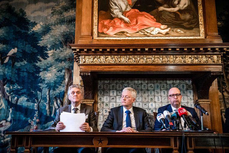 De burgemeesters (vlnr) Jack Mikkers (Den Bosch), Theo Weterings (Tilburg) en John Jorritsma (Eindhoven) bij een eerder persmoment. Beeld ANP