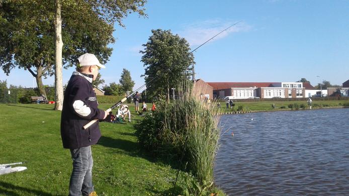 Vissen in de vijver aan de Schoolstraat in Nieuwerkerk