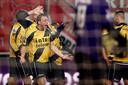 Van der Weg wordt bejubeld na een treffer tegen FC Twente.