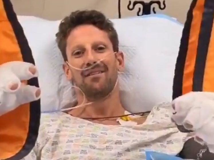 Grosjean na horrorcrash: 'Zonder halo had ik niet tegen jullie kunnen praten'