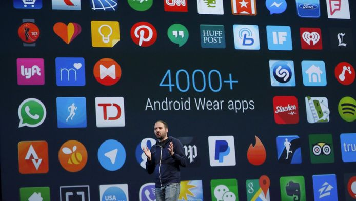 David Singleton, Directeur van Android Wear, spreekt op de Google I/O developers conference in San Francisco, California.