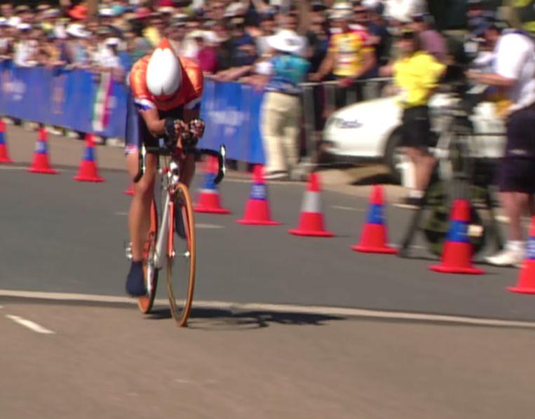 Leontien van Moorsel op de Olympische Spelen in Sydney, 2000. Beeld
