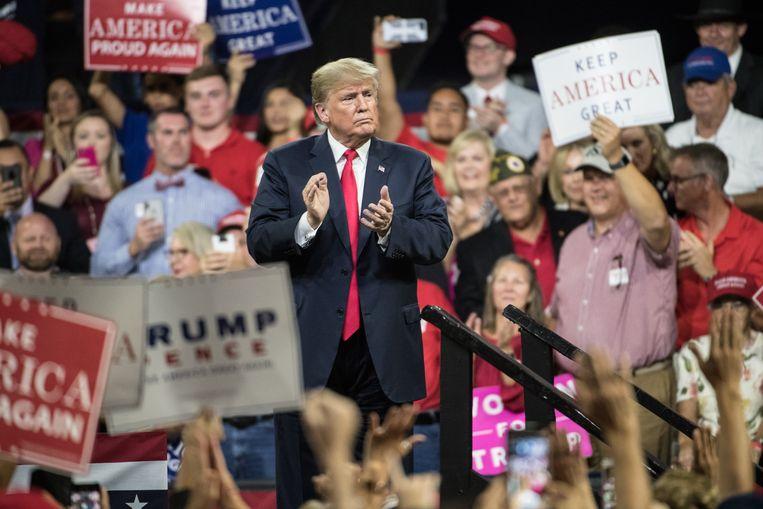 Trump tijdens een campagnerally in Tennessee. Beeld AFP