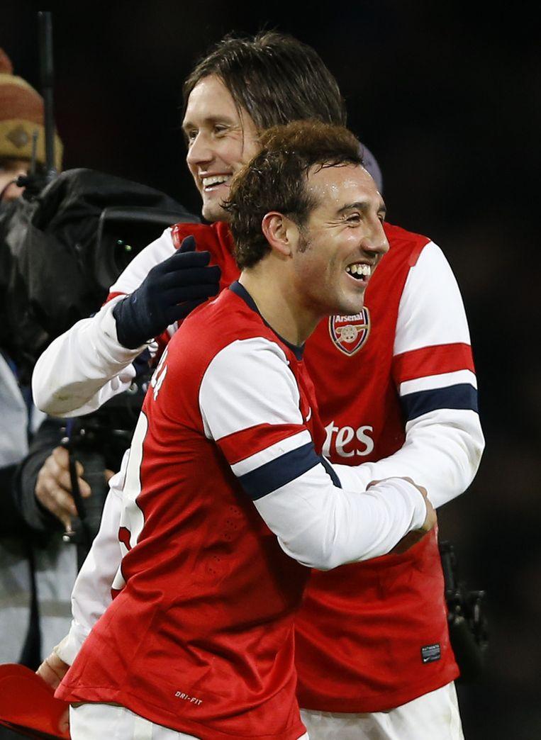 Cazorla en Rosicky scoorden voor Arsenal. Beeld AP