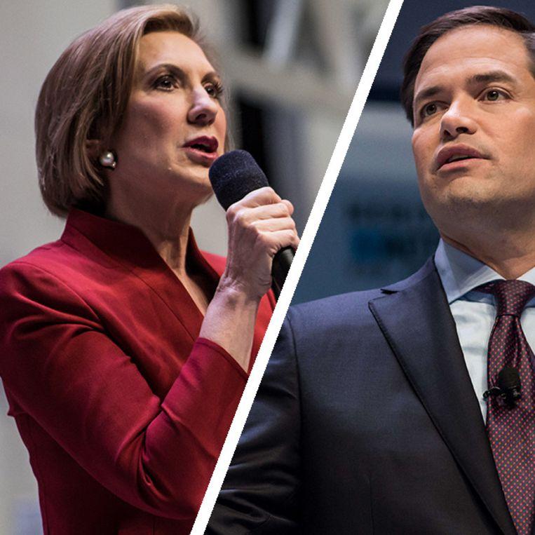 De Republikeinse presidentskandidaten Carly Fiorina (links) en Marco Rubio (rechts): zij zijn het nieuwe gelaat van de Republikeinen Beeld Getty Images/AP