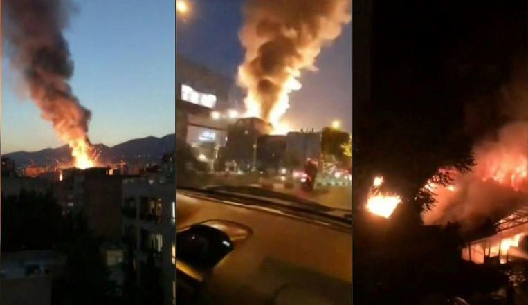 Beelden van de explosie in een ziekenhuis in hoofdstad Teheran. Beeld AFP