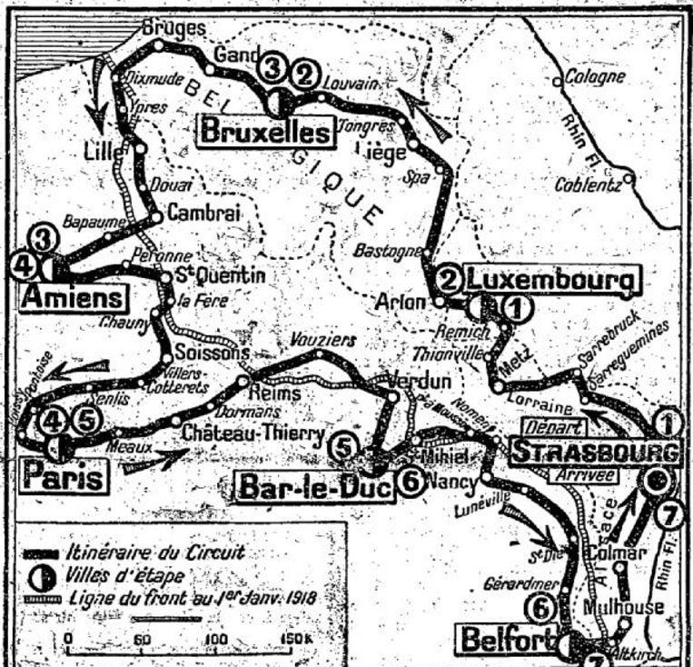 De route van de omloop der slagvelden anno 1919