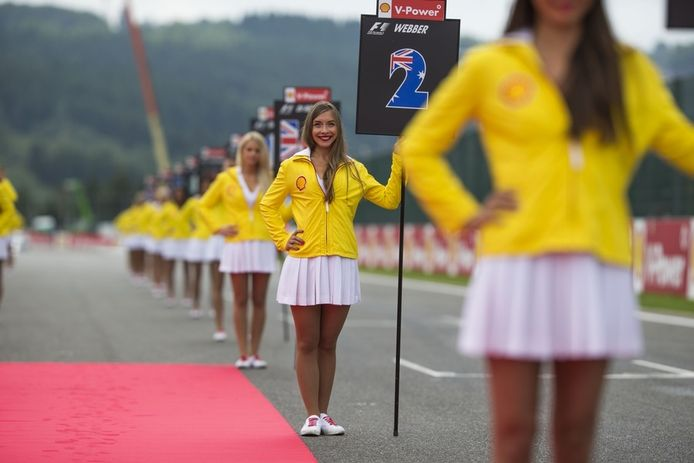 Grid Girls bij de GP Formule 1 van België op het circuit van Spa-Francorchamps in augustus.
