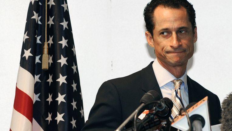 Anthony Weiner in juni 2011, toen hij zijn vertrek uit het Congres bekendmaakte. Beeld AFP