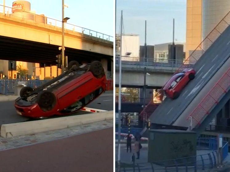 Nieuwe beelden tonen hoe auto van brug in Leuven valt