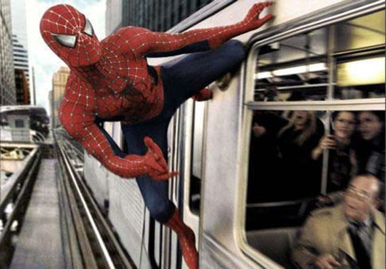 Tobey Maguire in Spider-man. Beeld null