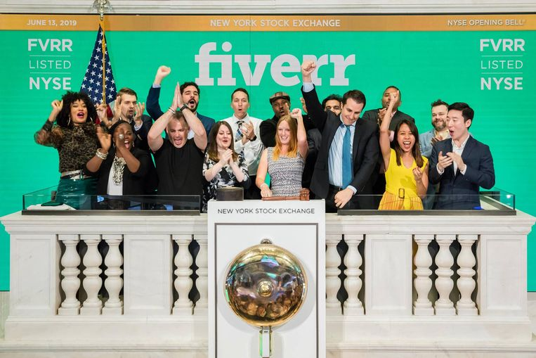 Fiverr viert de beursgang, juni 2019. Beeld Fiverr