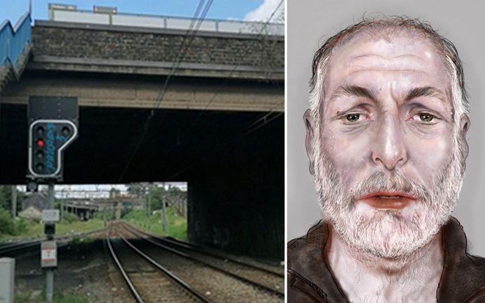 De man lag hier op de treinsporen, vlakbij het station Charleroi-West (Marcinelle).