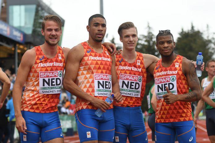 Jochem Dobber, Terrence Agard, Tony van Diepen en Ramsey Angela hebben in Tokio op de 4 x 400 meter kans op een medaille.