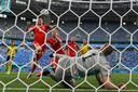 Lewandowski met de gouden kans op 1-1.