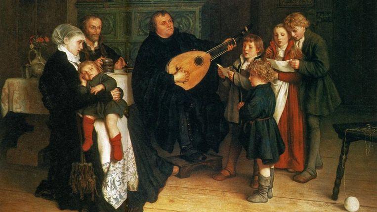 Martin Luther met zijn familie, G.A. Spangenberg (1886). Beeld x