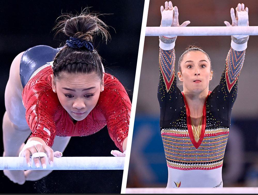 Sunisa Lee versus Nina Derwael op de brug met ongelijke leggers.