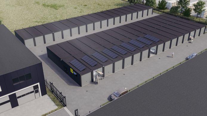 Artist impression van de nieuw te bouwen garageboxen op industrieterrein Vosdonk in Etten-Leur.