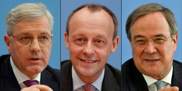 Van links naar rechts: de groen-progressieve Norbert Röttgen, de conservatieve favoriet Friedrich Merz en de 'man van het midden' Armin Laschet  zijn de drie kandidaten om Angela Merkel op te volgen als partijvoorzitter van het CDU.  Beeld AFP