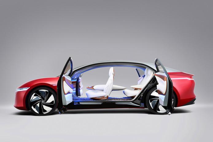Concept van een zelfrijdende, elektrische limousine, de I.D. Vizzion.