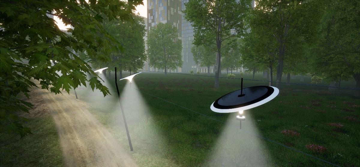 Beeld van de Sunseeker, de ingenieuze straatverlichting van de Eindhovense ontwerpstudio Vantot.