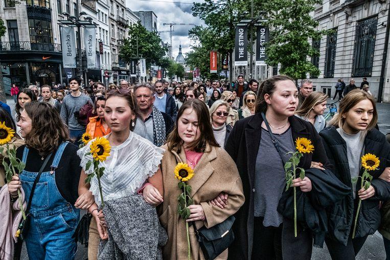 De dood van Julie Van Espen bracht 15.000 mensen op de been die protesteerden tegen seksueel geweld.  Beeld Tim Dirven
